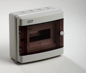 coffret electrique vide apparent 650 c tanche ip55 1 rang e 8 modules avec porte transparente fra. Black Bedroom Furniture Sets. Home Design Ideas