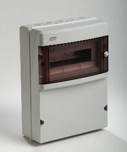 coffret electrique tanche ip55 1 rang e 12 modules pour prises lectriques avec porte transparente. Black Bedroom Furniture Sets. Home Design Ideas
