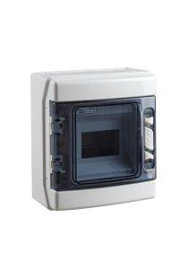 coffret electrique vide apparent 650 c tanche ip65 1 rang e 6 modules avec porte transparente fra. Black Bedroom Furniture Sets. Home Design Ideas