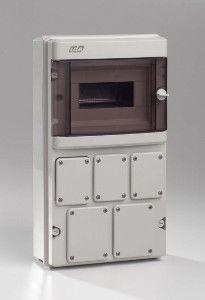 coffret electrique tanche ip55 1 rang e 9 modules avec pr d coupes pour 5 prises lectriques. Black Bedroom Furniture Sets. Home Design Ideas
